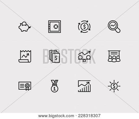 Economy Icons Set. Stock News And Economy Icons With Market Research, Staff Training And Stability.