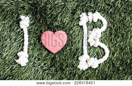 I And B Letters And Three Paper Heart Cut Outs On Grass