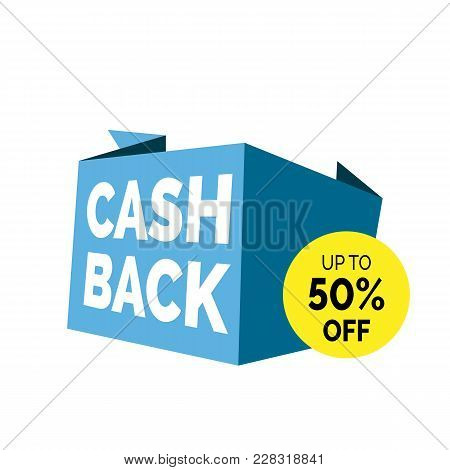Cash Back Up To Fifty Percent Off Lettering. Shopping Inscription With Origami Paper Shapes. Handwri