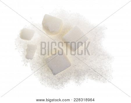 Heap Of Granulated Sugar With Cube Isolated On White Background. Top View. Flat Lay.