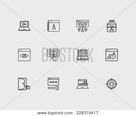 Search Icons Set. Ppc And Search Icons With Sitemap, Seo Copywriting And Blog Website. Set Of Elemen