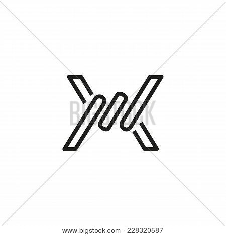 Line Icon Of Barbed Wire Fence Sign. Private Area, Boundary, Prison. Security Concept. Can Be Used F