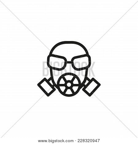 Line Icon Of Gas Mask. Respirator, Chemical Defense, Pollution. Military Uniform Concept. Can Be Use