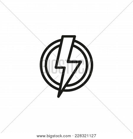 Line Icon Of High Voltage Symbol In Circle. Electricity, Electric Charge, Spark. Energy Symbol. Can