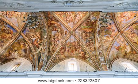 Lipari, Aeolian Islands, Italy - August 22, 2017: Frescoes With Biblical Scenes On The Vault Of The