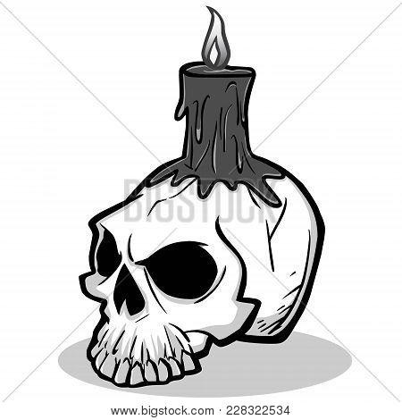 Halloween Skull Illustration - A Vector Cartoon Illustration Of A Scary Halloween Skull And Candle.