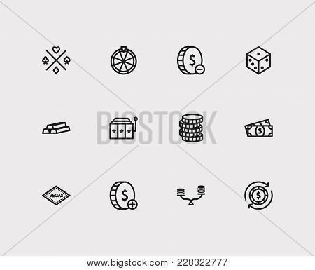 Set Of 12 Casino Icons Line Style Set With Slot Machine, Gold And Gamble Risk Elements Including Ris