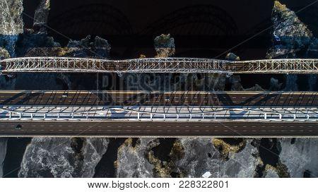 Aerial View Of The City, Ukraine. Dnieper River With Bridges. Darnitskiy Bridge. Combined Railway An