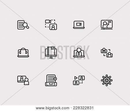 Set Of 12 Webinar Icons Line Style Set With Research, Stream Video Vlog And Online Course Elements I