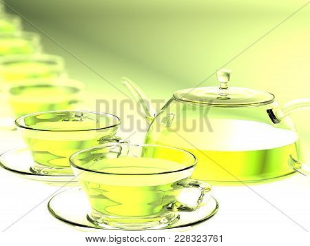 The Cups And A Teapot. 3d Rendering. A Transparent Cups With Green Tea On Transparent Saucers Stand