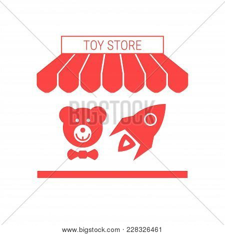 Toy Store Single Flat Icon. Striped Awning And Signboard. A Series Of Shop Icons. Vector Illustratio