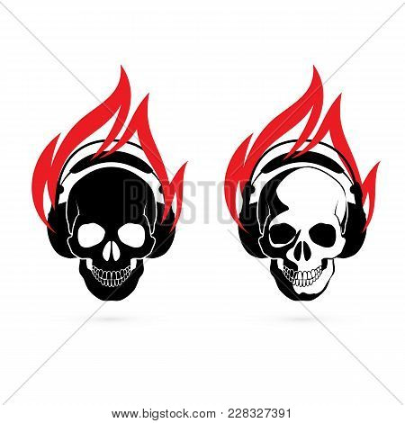 Human Skulls With Headphones In Red Fire. Icons For Design Template