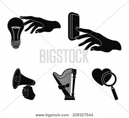 Electric Switch Button, Incandescent Lamp And Other  Icon In Black Style. Harp Playing, Megaphone In