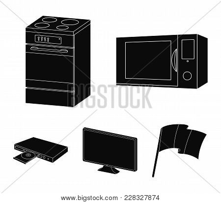 Home Appliances And Equipment Black Icons In Set Collection For Design.modern Household Appliances V