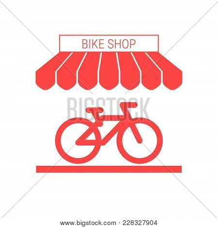 Bike Shop, Bicycle Store Single Flat Icon. Striped Awning And Signboard. A Series Of Shop Icons. Vec