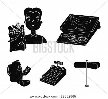 Package, Scales, Banana, Fruit .supermarket Set Collection Icons In Black Style Vector Symbol Stock