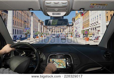 Driving While Using Navigation System, Via Della Conciliazione, Rome, Italy