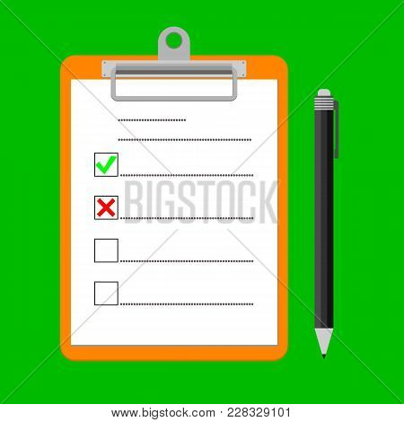Clipboard With Green Ticks Checkmarks And Pen. Checklist For Business, Complete Tasks, To-do List, S