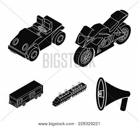 Motorcycle, Golf Cart, Train, Bus. Transport Set Collection Icons In Black Style Vector Symbol Stock
