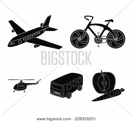 Bicycle, Airplane, Bus, Helicopter Types Of Transport. Transport Set Collection Icons In Black Style