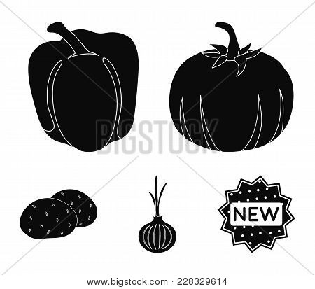 Yellow Pumpkin, Sweet Red Pepper, Onion Bitter, Potatoes. Vegetables Set Collection Icons In Black S