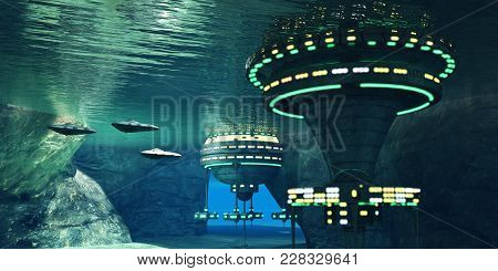 Alien Cave 3d Illustration - Several Spaceships Leave An Underwater Alien City Hidden In A Coastal C