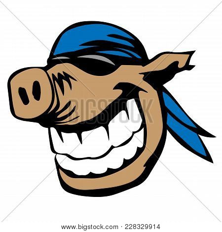 Funny Cartoon Pig Wearing A Bandanna, With A Huge Smile, Big White Teeth, Color Vector Graphic