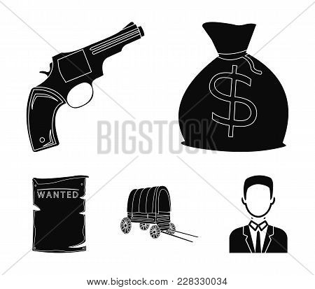 Bag With Money, Colt, Van, Is Being Searched For. Wild West Set Collection Icons In Black Style Vect