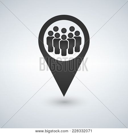 Meeting Point Location Icon. Friends Nearby. Drop Shadow Gps Mark Silhouette Symbol. Group Of People