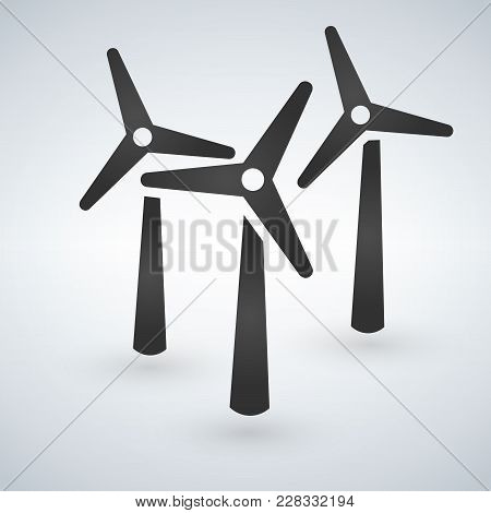 Windmill Turbine Icon. Drop Shadow Silhouette Symbol. Wind Eco Energy. Vector Isolated Illustration