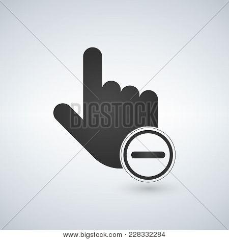 Abort Or Delete Hand Cursor Black Icon. Vector Illustration