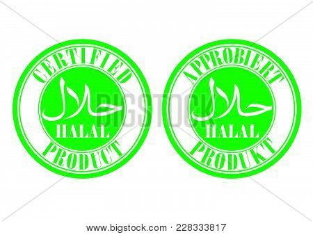 Halal Certified Stamp Design With Green Color