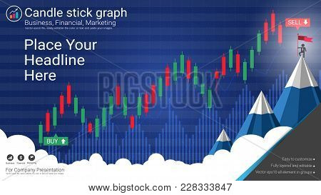 Candlestick And Financial Graph Charts, Infographic Presentations Template, Global Network Connectio