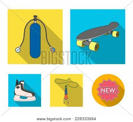 Skateboard, Oxygen Tank For Diving, Jumping, Hockey Skate.extreme Sport Set Collection Icons In Flat