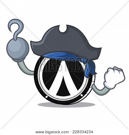 Pirate Dentacoin Character Cartoon Style Vector Illustration