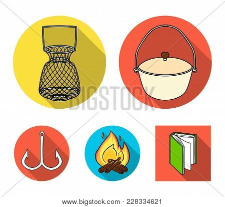 Catch, Hook, Mesh, Caster .fishing Set Collection Icons In Flat Style Vector Symbol Stock Illustrati