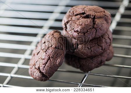 Cookies Choc Chocolate Fresh From The Oven On A Wire Rack Steel.
