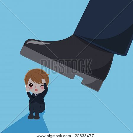 Blusiness Man With Bullying Concept On The Blue Background