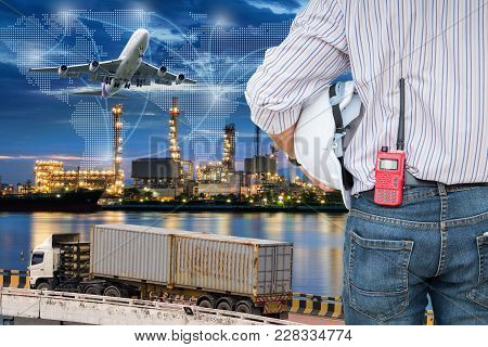 Heavy Industry Of Cargo Ship Terminal And Logistics Transportation., Air Freight, Sea Freight, Busin