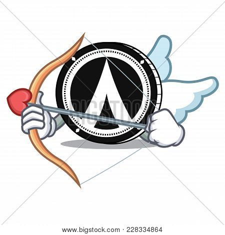 Cupid Dentacoin Character Cartoon Style Vector Illustration