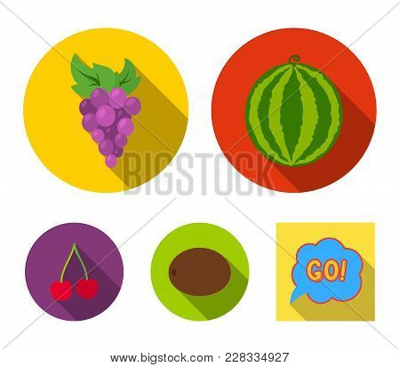 Watermelon, Grapes, Cherry, Kiwi.fruits Set Collection Icons In Flat Style Vector Symbol Stock Illus