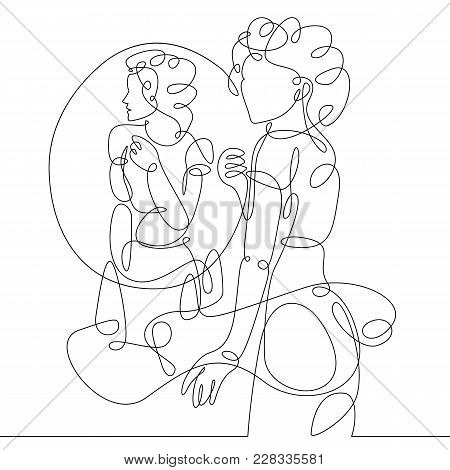 Continuous Single One Drawn Line Women, Women In Evening Dress Costume Worn In Front Of The Mirror.