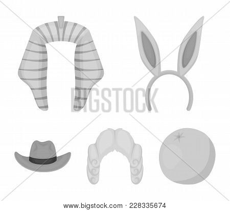 Rabbit Ears, Judge Wig, Cowboy. Hats Set Collection Icons In Monochrome Style Vector Symbol Stock Il