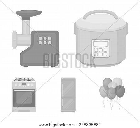 Multivarka, Refrigerator, Meat Grinder, Gas Stove.household Set Collection Icons In Monochrome Style