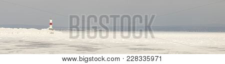 Panorama Petoskey Pierhead Lighthouse, Petoskey, Michigan In Winter