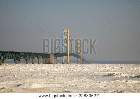Mackinac Bridge, Mackinac City, Michigan In Winter