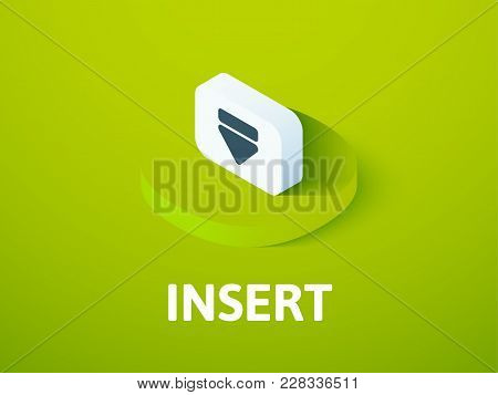 Insert Icon, Vector Symbol In Flat Isometric Style Isolated On Color Background