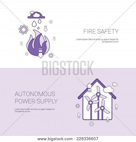 Fire Safety And Autonomous Power Supply Concept Template Web Banner With Copy Space Vector Illustrat