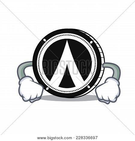 Angry Dentacoin Mascot Cartoon Style Vector Illustration