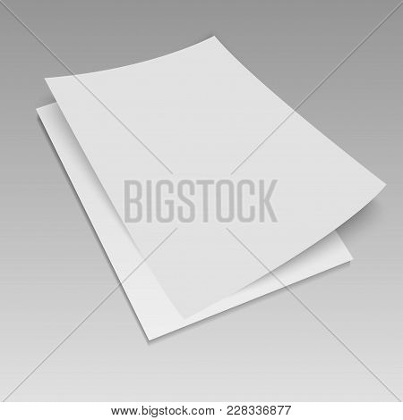 3d Flyer Mock-up Design   On Grey Background. Vector Illustration.
